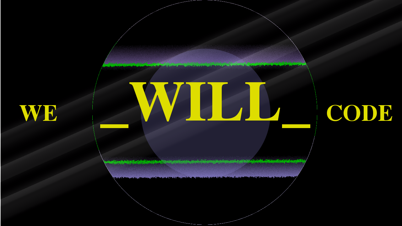The we will code logo.  If you have wondered what is we will code, this section explains it.  This logo image says we will code.